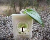 Organic all natural The ORIGINAL VANILLA BEAN vegan soy votive candle pure essential oils. Earthy spa holistic botanical Aromatherapy