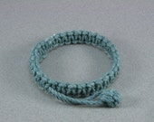 teal square knot macrame rope bracelet with zip pull closure 1196