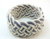 white & denim blue turks head knot sailor rope bracelet medium 2008