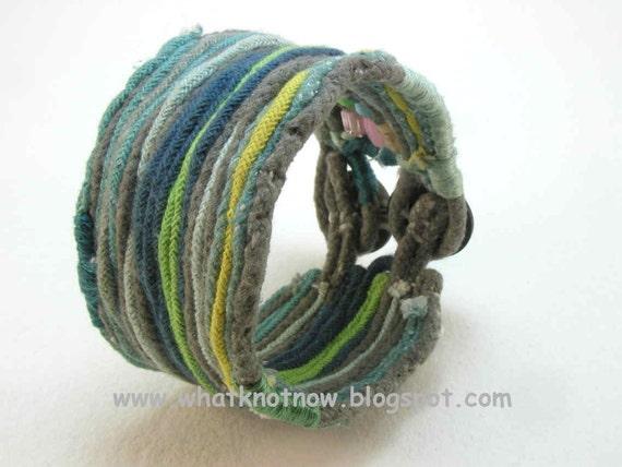 extra wide double button cotton fiber beaded cuff bracelet medium 628