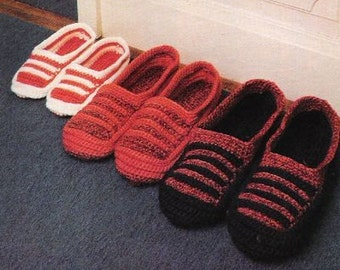 Vintage Crochet Patterns -  Slippers For the Family