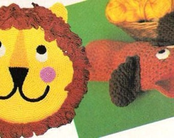 Vintage Crochet Pattern Lion Pillow and Dog Puppet