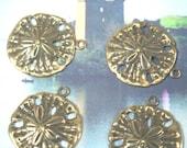 Golden Star Sand Dollar Pendant charm antiqued gold over brass 1 ring 4pc