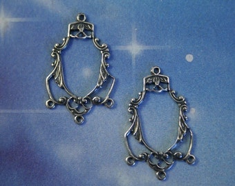 Filigree Stamping pendant or charm antiqued sterling silver over BRASS 2 pc chandelier, 4 ring Connector