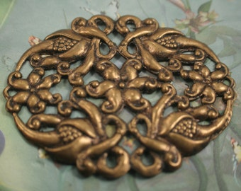 Brass Filigree Stamping antiqued brass ox patina large ornamental Victorian bracelet cuff size