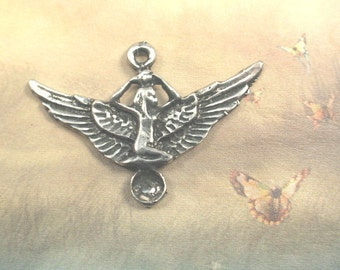 The Goddess Isis Amulet Genuine Pewter Egyptian Charm 2 piece -  pendant with stone setting