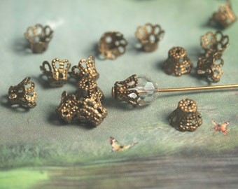 Small Filigree Bead Caps Antique Brass plating 5x6mm Victorian style