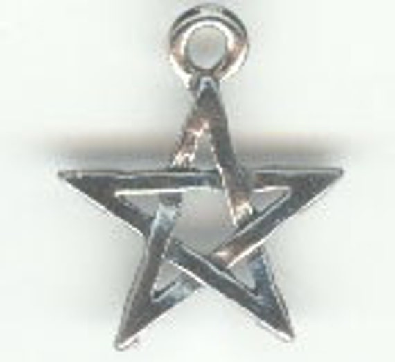 Small Pentacle Star pewter Charm small pendant 3pc