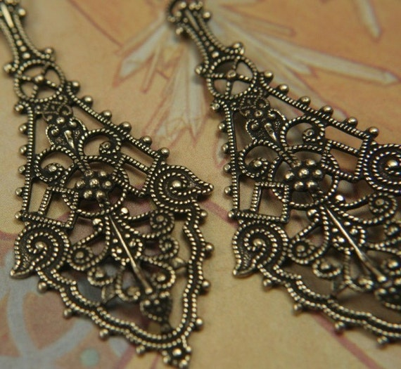 2pc  Rebekah Pendant Antique Gold over BRASS Stamping Pendant Charm
