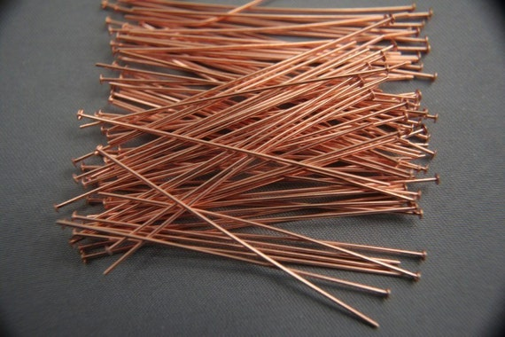 2 inch solid copper headpins 22 gauge set of 100pc