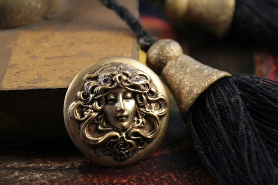 Beautiful Art Nouveau Goddess LILITH oxidised brass stamping antiqued old world gold