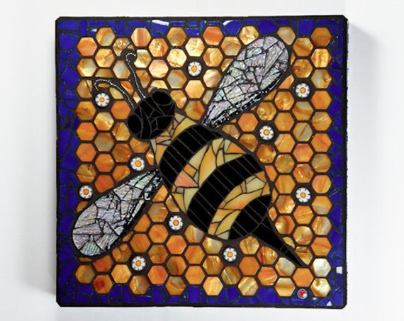 RESERVED - For Al Beck - Bumble Bee Mosaic - Wall hanging