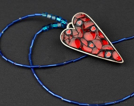 Red Heart Millefiori Mosaic Pendant Necklace
