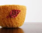 fall foliage - fuzzy pumpkin orange felted wool bowl with burgundy red eco felt leaf