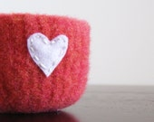 felted wool bowl - salmon pink wool with eco-fi felt white heart -
