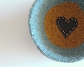shallow wool bowl or dish-  fuzzy tweed seafoam and mustard yellow wool bowl with black heart
