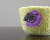 felted wool bowl - pistachio green wool bowl with purple and grey felt bird- gifts for spring her under 25 mothers day easter birthday