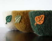 fall foliage - felted wool bowl - mustard yellow wool with eco felt sage leaf- autumn inspired, woodland inspired, nature inspired