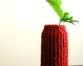 sparkly sangria red knitted vase with upcycled glass interior