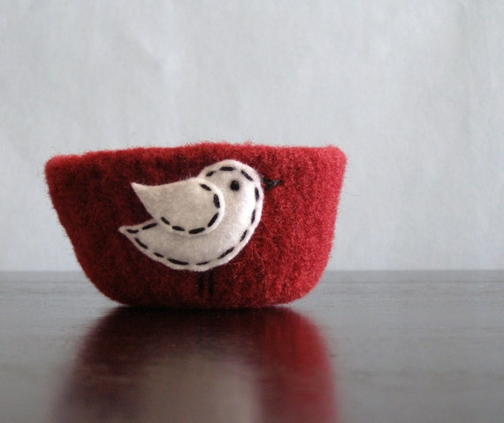 fuzzy felted cranberry red bowl with white eco felt bird