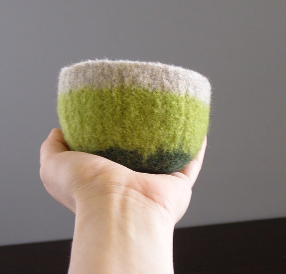 felted wool striped bowl - garden stripes in oatmeal, avocado green, and forest green - spring inspired felted bowl