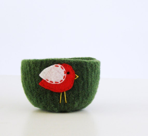 Felted bowl - winter birds - forest green wool bowl with red and white felt wren or sparrow bird- woodland nature forest inspired