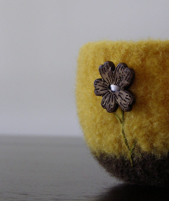 felted wool bowl - sunny yellow and brown wool bowl with wooden flower - ring holder, catch all, summer inspired