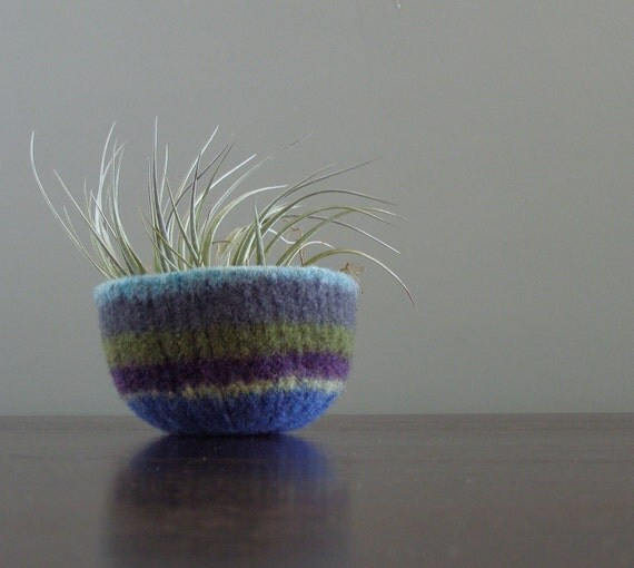 felted wool striped bowl - stormy afternoon colors- sky blue, grey, forest green, eggplant purple, and royal blue