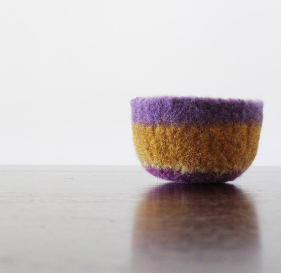 felted wool striped bowl -lavender, turmeric orange, moss green, and grape purple - ring holder, gifts under 20, minimalist and simple