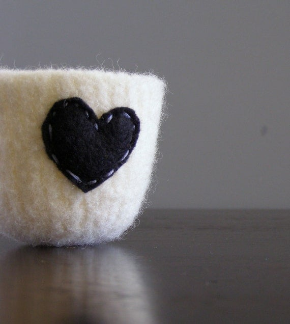 felted bowl -fuzzy felted undyed naturally off-white wool bowl with black eco felt heart - ring holder, catch all, gifts under 20 25
