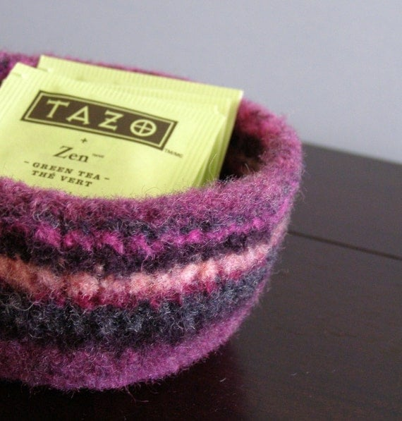 fuzzy felted wool stripey bowl -purples and pinks