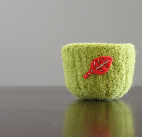 Reserved for Kristine - felted bowl - small avocado green felted bowl with eco felt red leaf embroidered in cotton