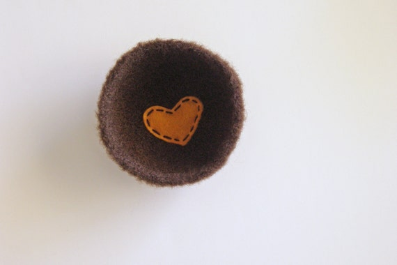 shallow wool bowl or dish-  fuzzy dark coffee brown wool bowl with mustard yellow heart - anniversary gift, ring bearer bowl