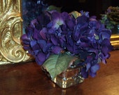 Purple Hydrangeas English Cottage Chic February Birthday Flowers Bouquet Posey in Acrylic Water Floral Arrangement