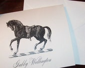 Equestrian Horse Personalized Monogrammed  Note Cards Black on Ivory Set of 10 Stationery - HappyHound