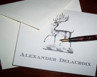 Personalized Deer, Stag, Elk Monogrammed Note Cards Stationery Notecards 10 Woodland Forest Country Hunting Lodge Monogram Mountain Cabin