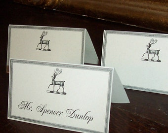 Wedding Place Cards ,Escort Cards, Stag Deer 60 Seating Cards, Woodland Forest Rustic Antler Vintage Inspired Place Cards Entertaining