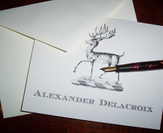 Man Personalized Deer, Stag, Elk , Monogrammed Note Cards Set 10 Him or Her Woodland Forest Country Hunting Vintage Inspired Stationery