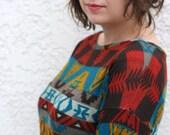 LAST ONE- Tribal Geometric Dress- Warm long sleeve mini dress