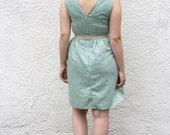 SALE- Size Large Linen Dress- Sleeveless Deep V Lined LinenDress