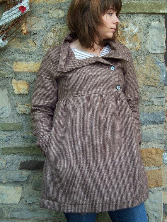 brown flannel long arbutina coat- custom