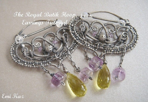 Wire Wrapped Jewelry Tutorial - Filigree Woven Earrings - The Royal Batik Hoop Earrings
