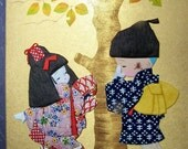 Vintage Home Decor Japanese Paper Art ,Wall Hanging ,Hide and Seek, Washi Doll, Chiyogami Doll Style on sale was 29.50
