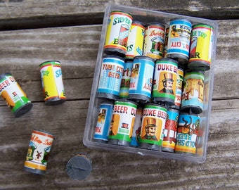 Miniature Miniature Toy Beer Cans 1979 Shackman Miniatures Old time beer labels Dollhouse scale collectible