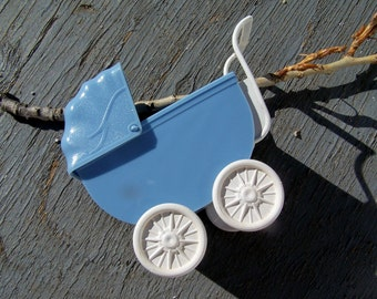 Vintage Toy, Collectible Miniature Blue Doll Carriage ON SALE , Nursery Baby Buggy  Blue Antique Toy Pram damaged on axle