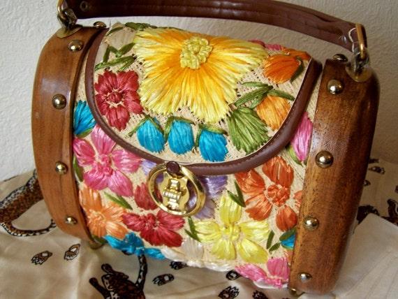 Vintage Handbag, Cabana 1960 Wood and Raffia Barrel Style Handbag