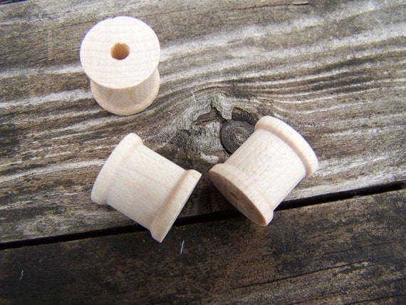 Vintage Craft Supplies,Miniature Wooden Spools , craft supply 100 Piece Sewing Spools in Two Sizes you pick