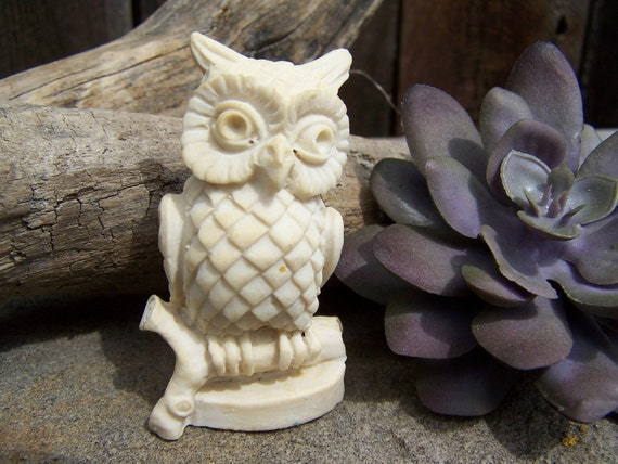 RESERVED for Phil,White Owl Figurine, Carved and Detailed White Coral