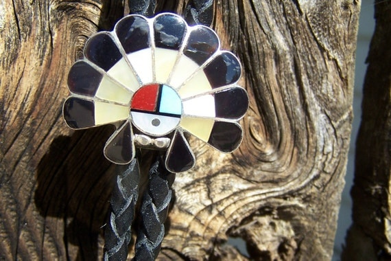 Vintage Indian Made Jewelry Hopi Inlay Sterling Kachina Bolo