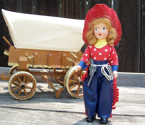Vintage Toy, Composite Doll , 1940's Cowgirl Bisque Doll